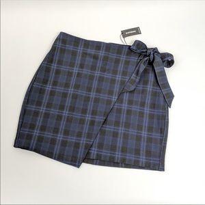 NWT Express Plaid Faux Wrap Skirt